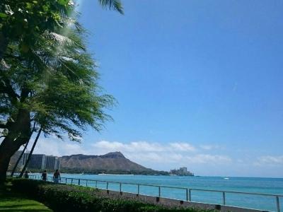 ハワイ・海辺で仕事中
